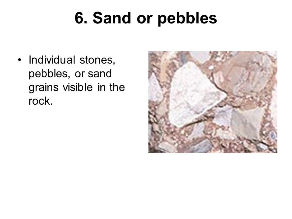 5. Weathering The process by which rocks are worn down by wind and water, creating sediment.