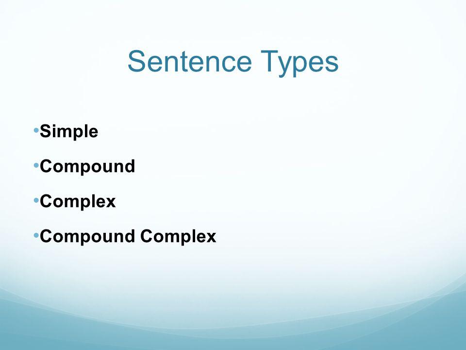 Sentence Types Simple Compound Complex Compound Complex