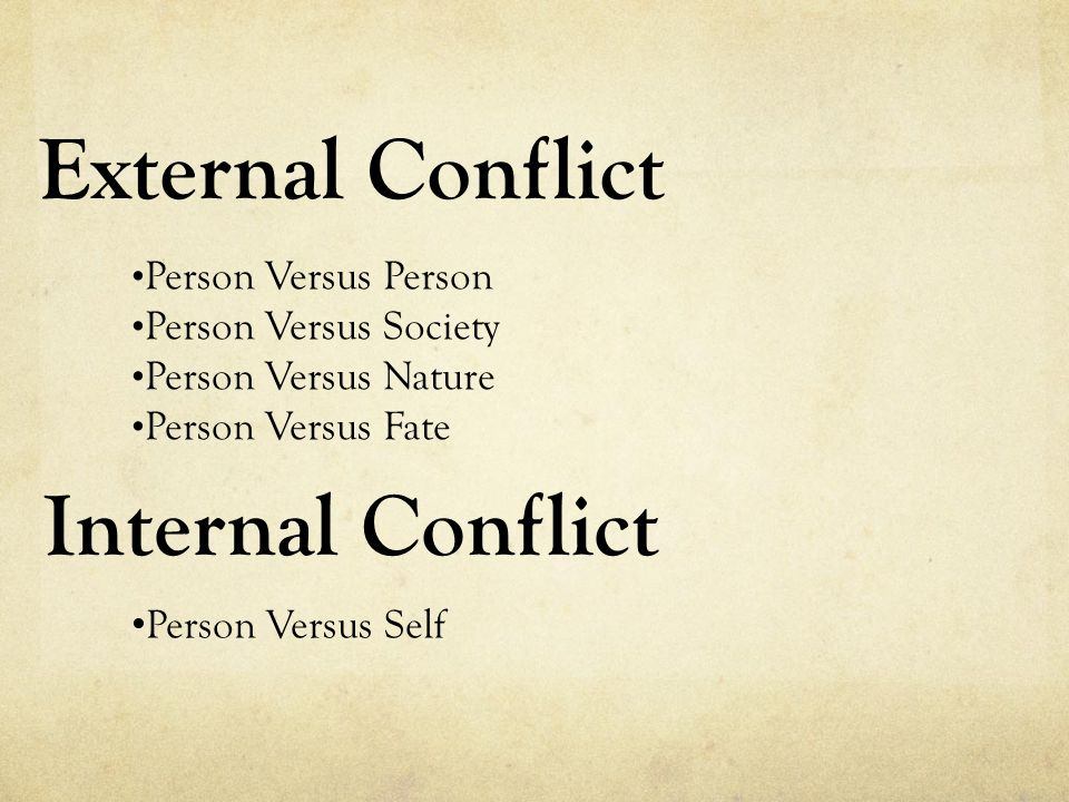 External Conflict Person Versus Person Person Versus Society Person Versus Nature Person Versus Fate Internal Conflict Person Versus Self