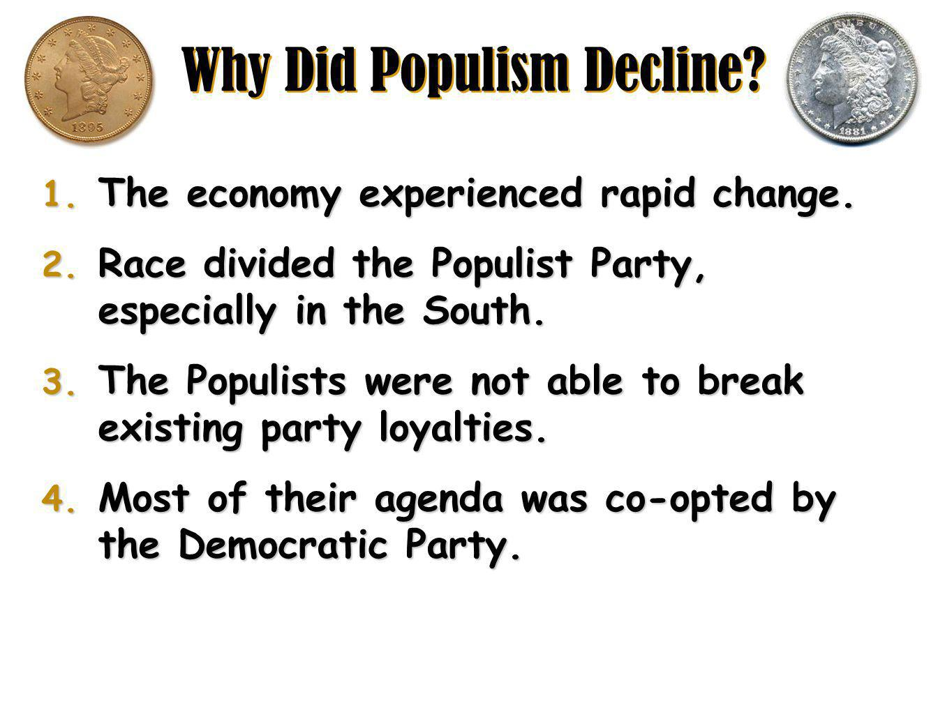 Why Did Populism Decline.1. The economy experienced rapid change.
