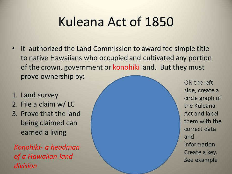 Kuleana Act of 1850 It authorized the Land Commission to award fee simple title to native Hawaiians who occupied and cultivated any portion of the cro