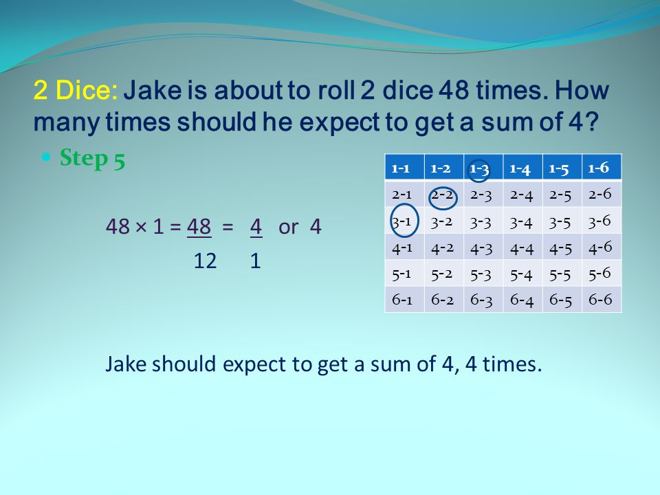 2 Dice: Jake is about to roll 2 dice 48 times. How many times should he expect to get a sum of 4.