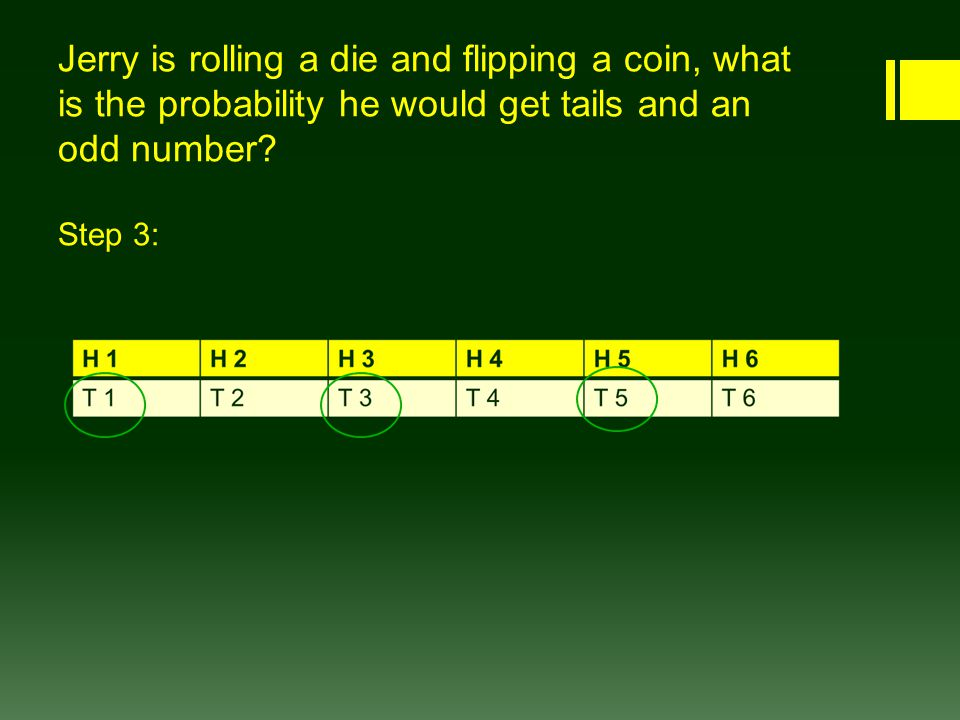 Jerry is rolling a die and flipping a coin, what is the probability he would get tails and an odd number.