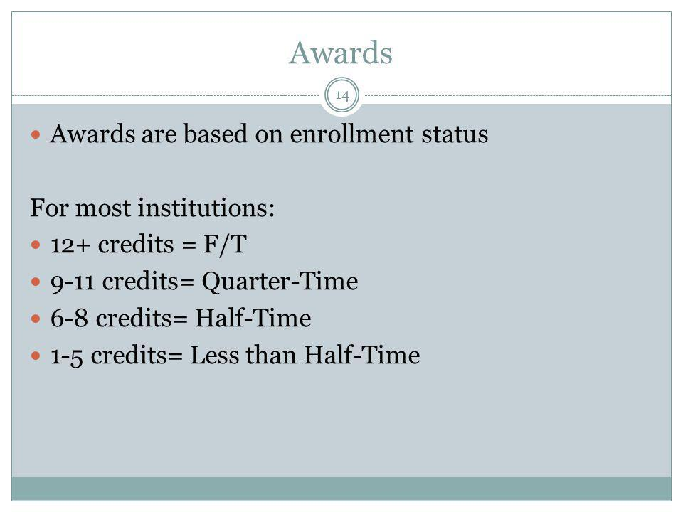 Awards 14 Awards are based on enrollment status For most institutions: 12+ credits = F/T 9-11 credits= Quarter-Time 6-8 credits= Half-Time 1-5 credits