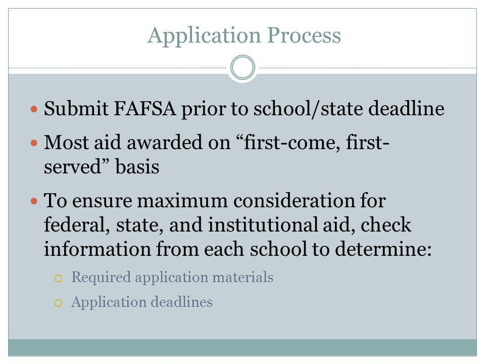 Application Process Submit FAFSA prior to school/state deadline Most aid awarded on first-come, first- served basis To ensure maximum consideration for federal, state, and institutional aid, check information from each school to determine:  Required application materials  Application deadlines