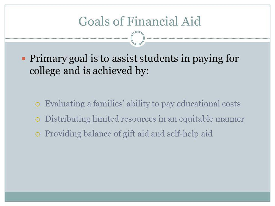 Goals of Financial Aid Primary goal is to assist students in paying for college and is achieved by:  Evaluating a families' ability to pay educational costs  Distributing limited resources in an equitable manner  Providing balance of gift aid and self-help aid