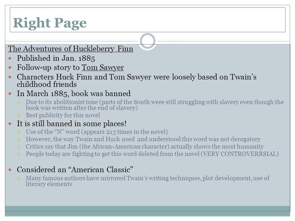 Right Page The Adventures of Huckleberry Finn Published in Jan.