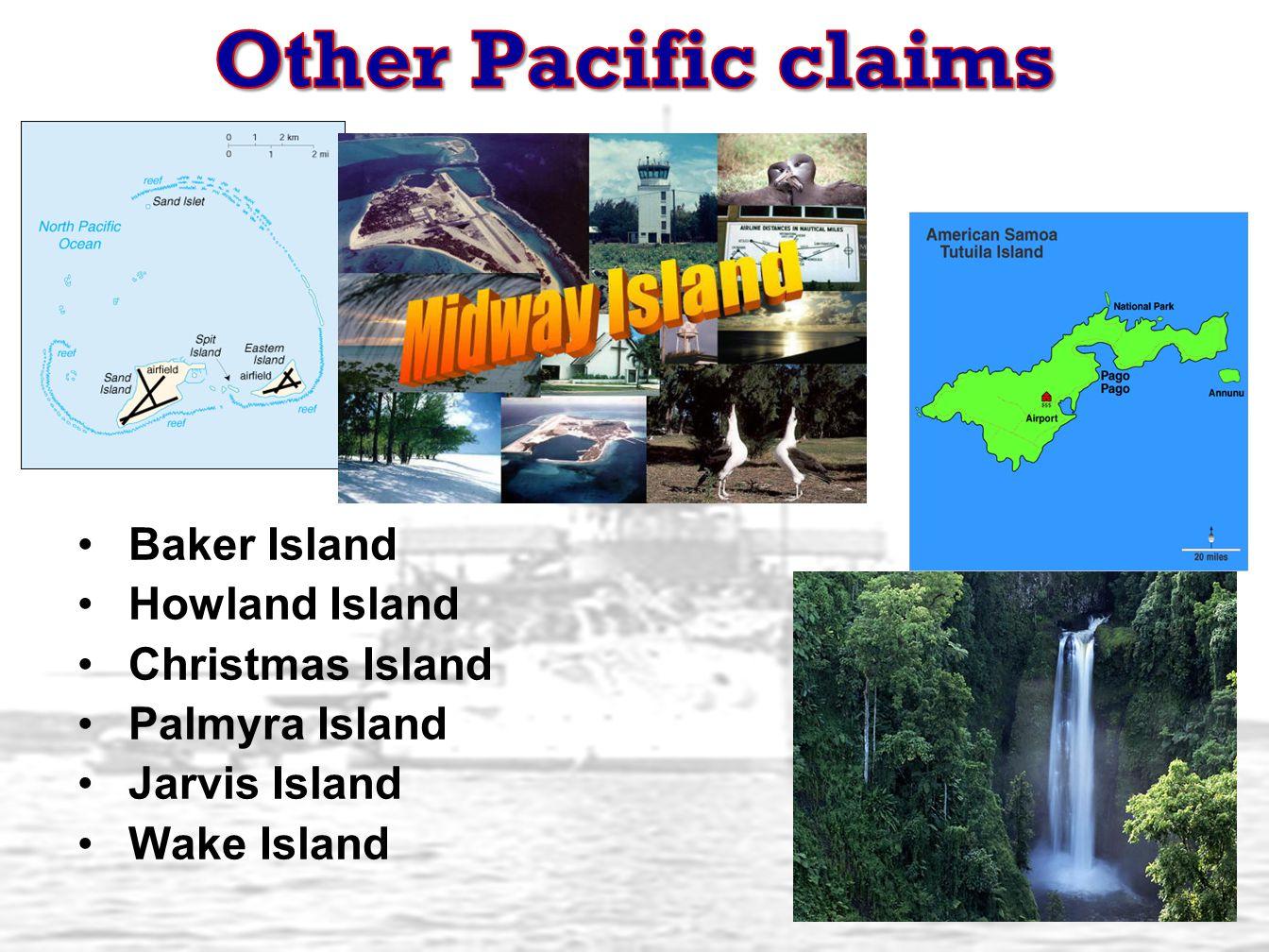 Baker Island Howland Island Christmas Island Palmyra Island Jarvis Island Wake Island