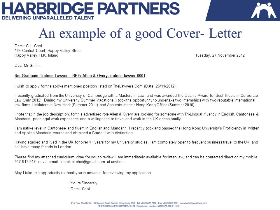 An example of a good Cover- Letter Derek C.L.