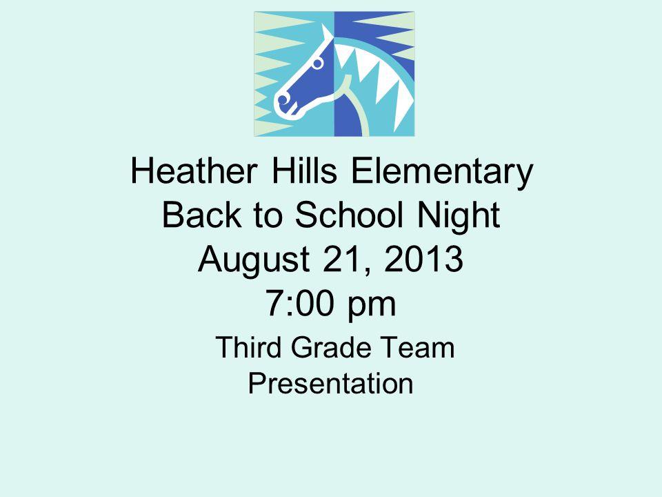 Heather Hills Elementary Back to School Night August 21, 2013 7:00 pm Third Grade Team Presentation