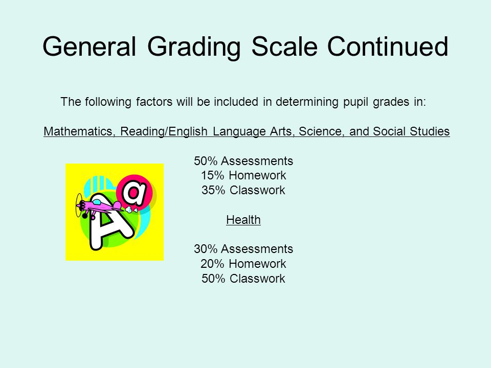 General Grading Scale Continued The following factors will be included in determining pupil grades in: Mathematics, Reading/English Language Arts, Sci