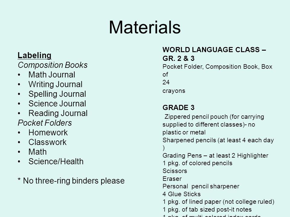 Materials Labeling Composition Books Math Journal Writing Journal Spelling Journal Science Journal Reading Journal Pocket Folders Homework Classwork M