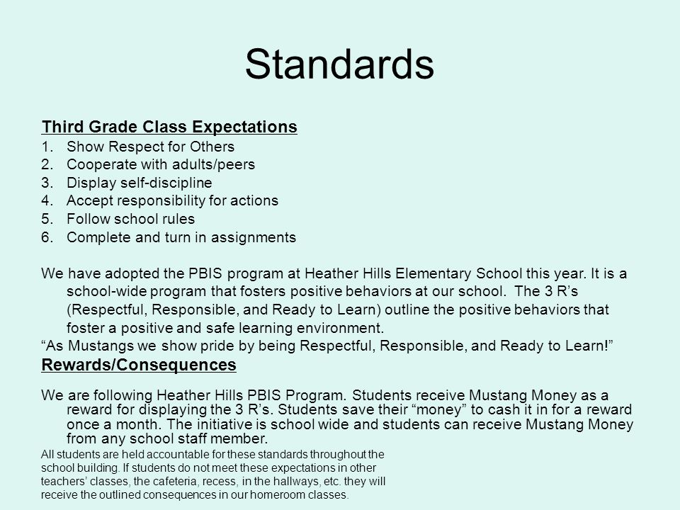 Standards Third Grade Class Expectations 1.Show Respect for Others 2.Cooperate with adults/peers 3.Display self-discipline 4.Accept responsibility for