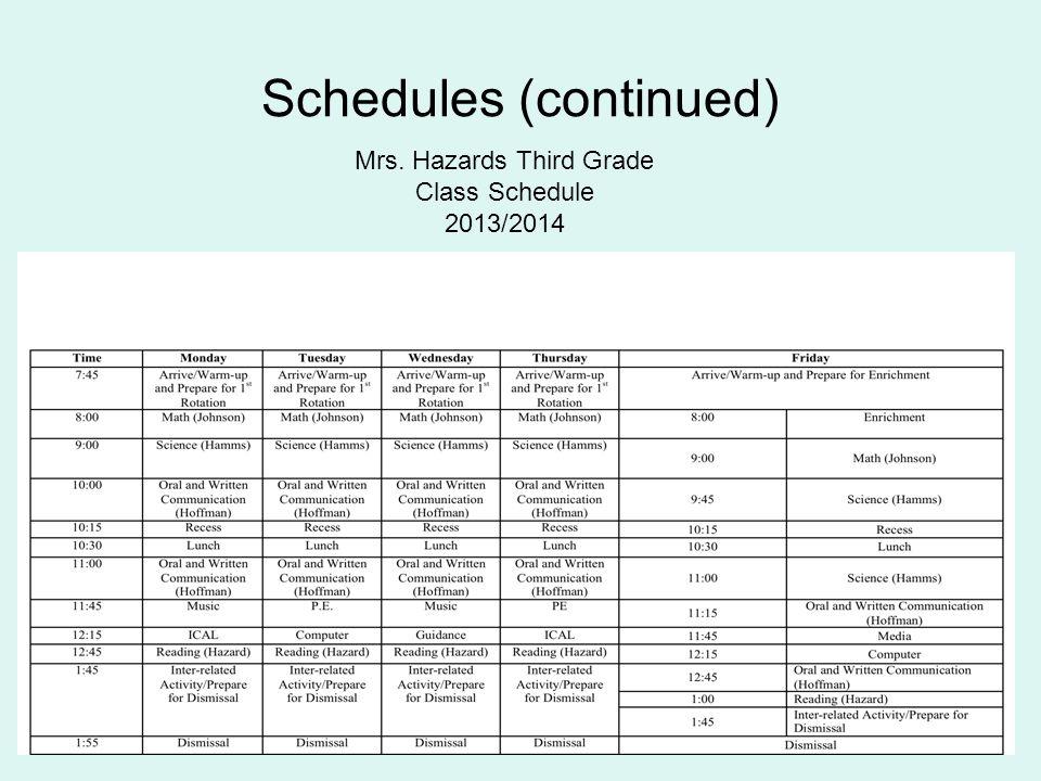 Schedules (continued) Mrs. Hazards Third Grade Class Schedule 2013/2014