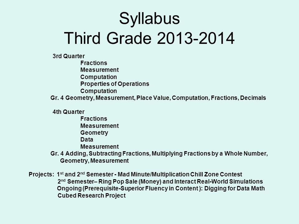 Syllabus Third Grade 2013-2014 3rd Quarter Fractions Measurement Computation Properties of Operations Computation Gr. 4 Geometry, Measurement, Place V