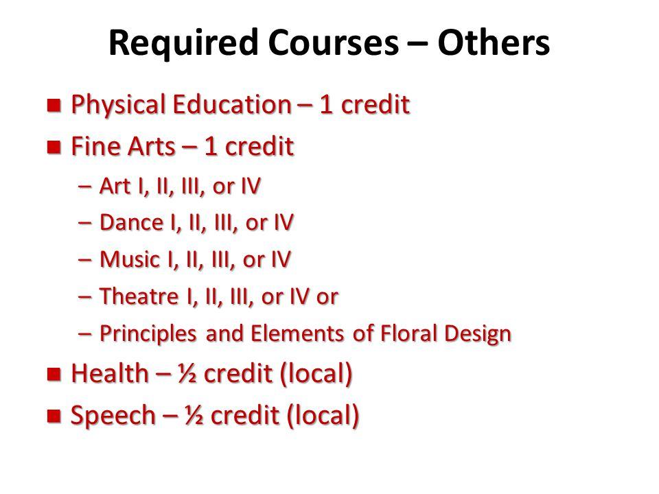 Required Courses – Others n Physical Education – 1 credit n Fine Arts – 1 credit –Art I, II, III, or IV –Dance I, II, III, or IV –Music I, II, III, or
