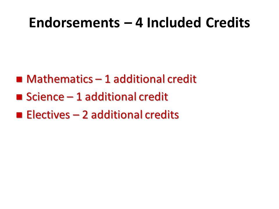 Endorsements – 4 Included Credits n Mathematics – 1 additional credit n Science – 1 additional credit n Electives – 2 additional credits