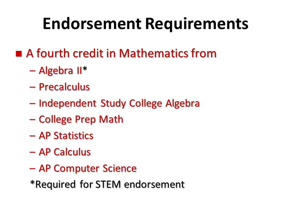 Endorsement Requirements n A fourth credit in Mathematics from –Algebra II* –Precalculus –Independent Study College Algebra –College Prep Math –AP Sta