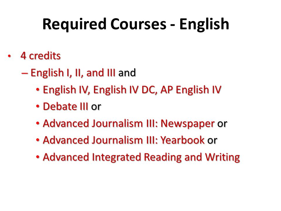 Required Courses - English 4 credits 4 credits – English I, II, and III and English IV, English IV DC, AP English IV English IV, English IV DC, AP Eng