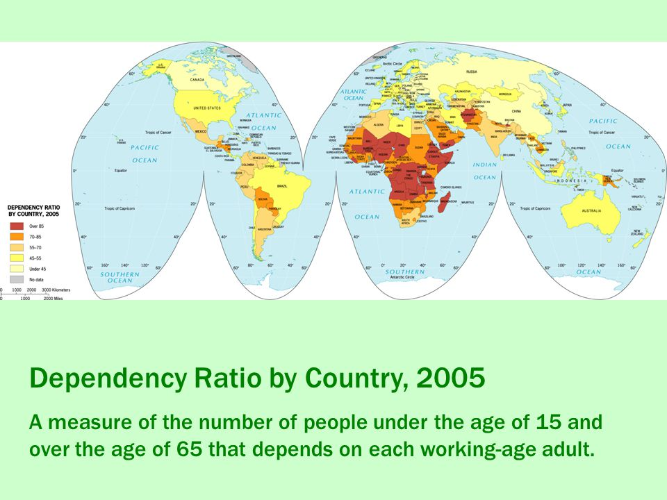 Dependency Ratio by Country, 2005 A measure of the number of people under the age of 15 and over the age of 65 that depends on each working-age adult.