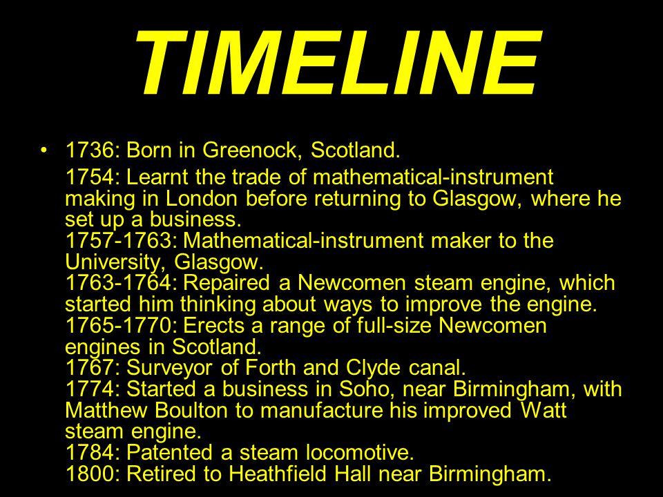 TIMELINE 1736: Born in Greenock, Scotland.