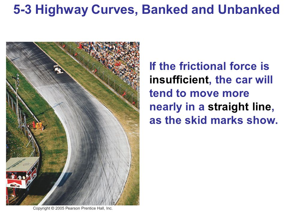 5-3 Highway Curves, Banked and Unbanked If the frictional force is insufficient, the car will tend to move more nearly in a straight line, as the skid marks show.