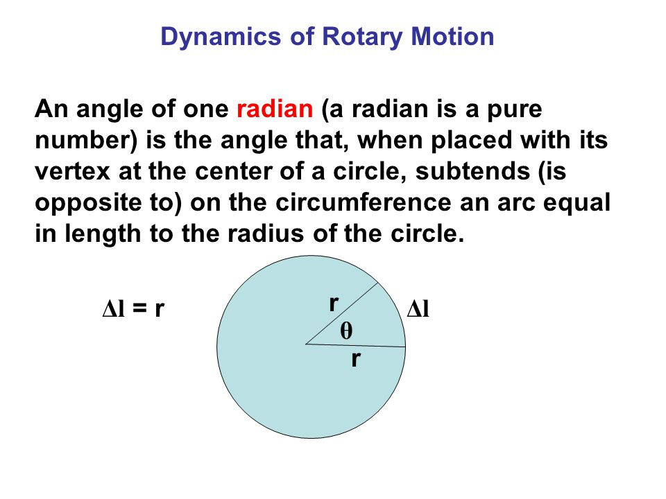 An angle of one radian (a radian is a pure number) is the angle that, when placed with its vertex at the center of a circle, subtends (is opposite to) on the circumference an arc equal in length to the radius of the circle.