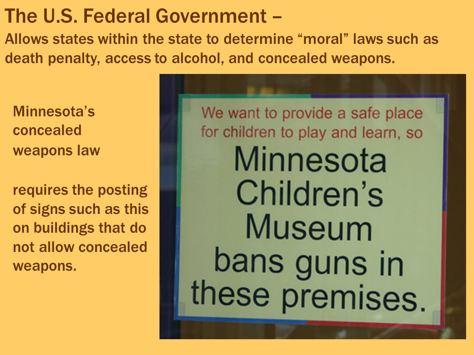 Minnesota's concealed weapons law requires the posting of signs such as this on buildings that do not allow concealed weapons. The U.S. Federal Govern