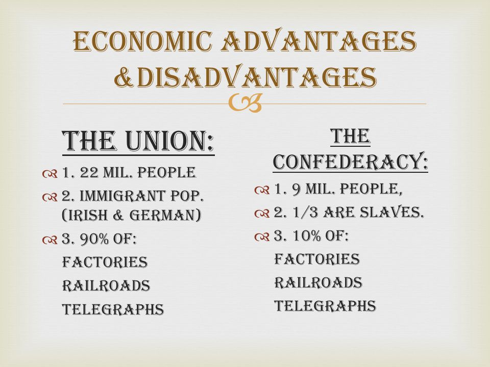  Economic Advantages &Disadvantages The Union:  1. 22 Mil. People  2. Immigrant Pop. (Irish & German)  3. 90% of: Factories Railroads Telegraphs T