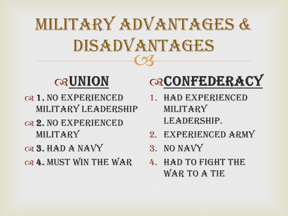  Military Advantages & Disadvantages  Union  1. No experienced military leadership  2. No Experienced Military  3. Had a Navy  4. Must Win The W