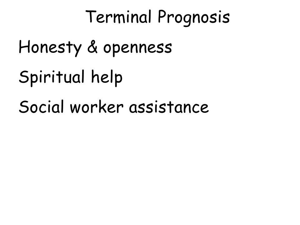 Terminal Prognosis Honesty & openness Spiritual help Social worker assistance