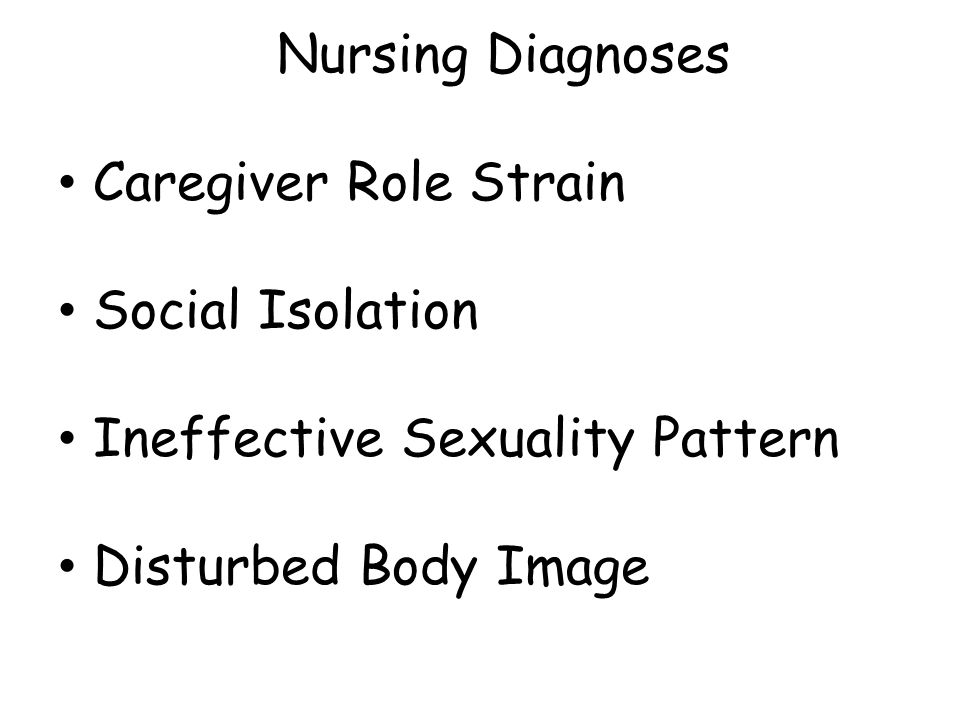 Nursing Diagnoses Caregiver Role Strain Social Isolation Ineffective Sexuality Pattern Disturbed Body Image