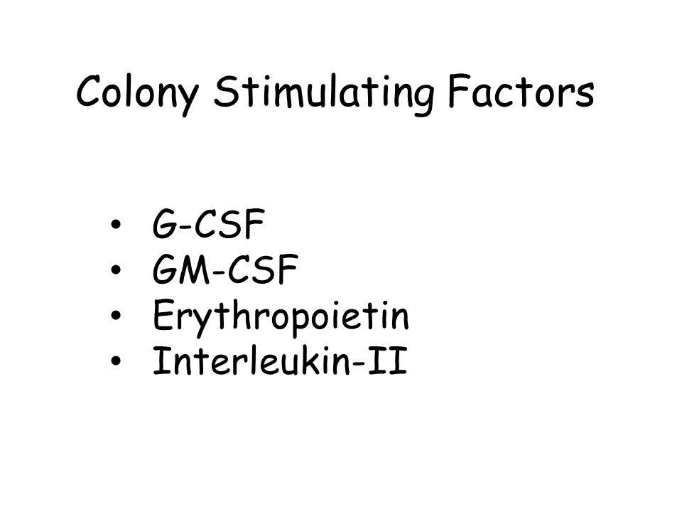G-CSF GM-CSF Erythropoietin Interleukin-II Colony Stimulating Factors