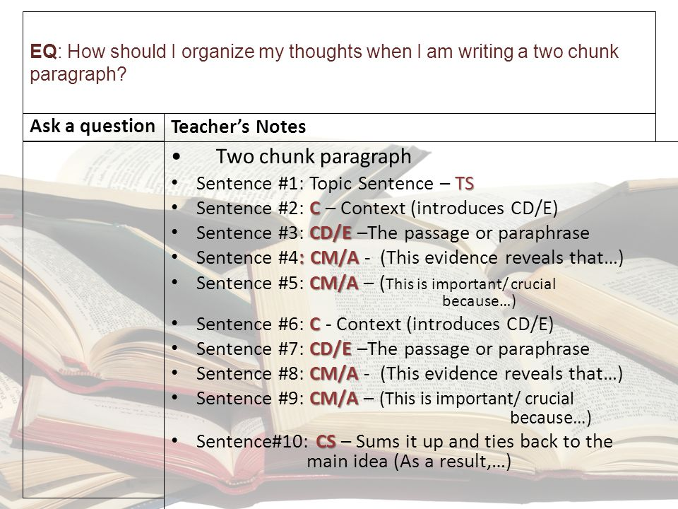 EQ: How should I organize my thoughts when I am writing a two chunk paragraph.
