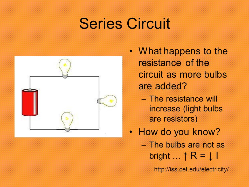 Series Circuit What happens to the resistance of the circuit as more bulbs are added.