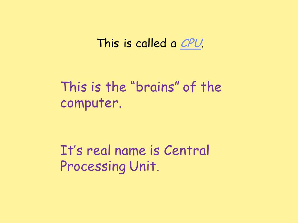 This is called a CPU. This is the brains of the computer.