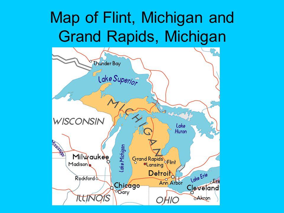 Map of Flint, Michigan and Grand Rapids, Michigan