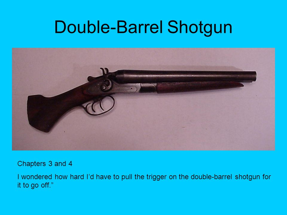 Double-Barrel Shotgun Chapters 3 and 4 I wondered how hard I'd have to pull the trigger on the double-barrel shotgun for it to go off.""