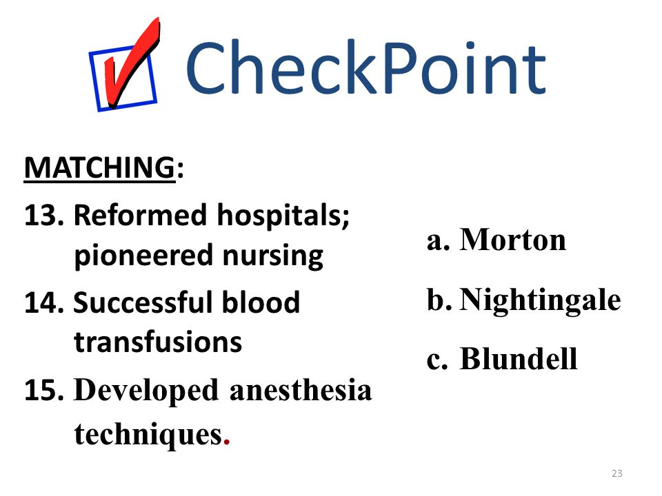 MATCHING: 13. Reformed hospitals; pioneered nursing 14. Successful blood transfusions 15. Developed anesthesia techniques. CheckPoint a.Morton b.Night