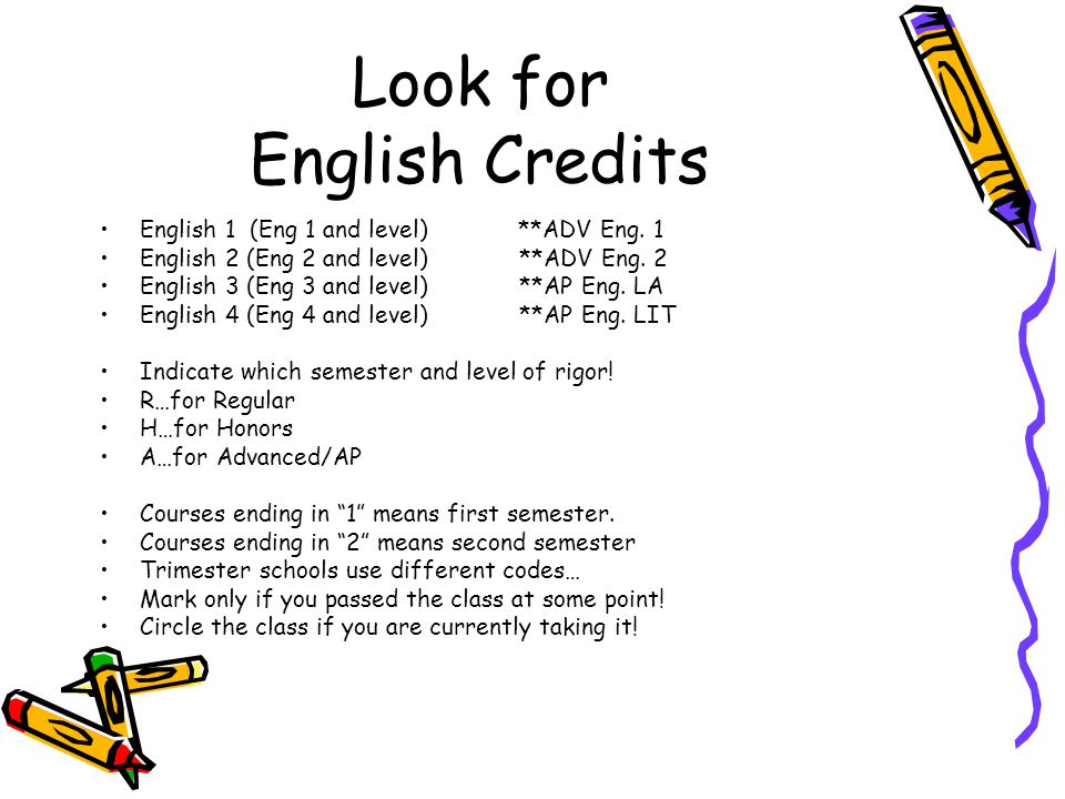 Look for English Credits English 1 (Eng 1 and level) **ADV Eng. 1 English 2 (Eng 2 and level) **ADV Eng. 2 English 3 (Eng 3 and level) **AP Eng. LA En