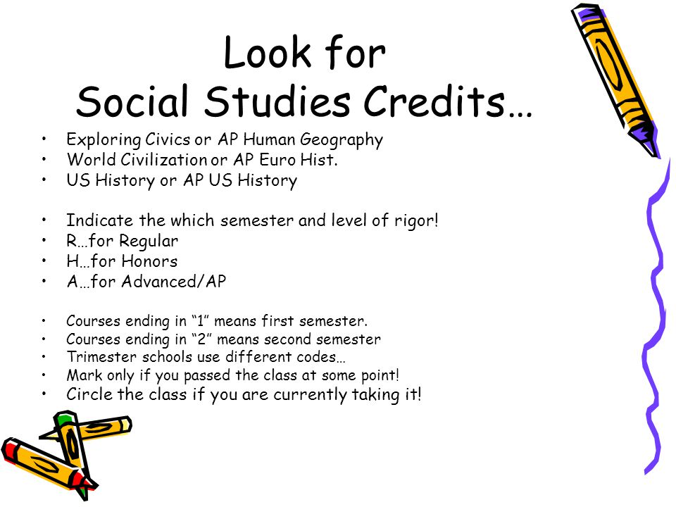 Look for Social Studies Credits… Exploring Civics or AP Human Geography World Civilization or AP Euro Hist. US History or AP US History Indicate the w