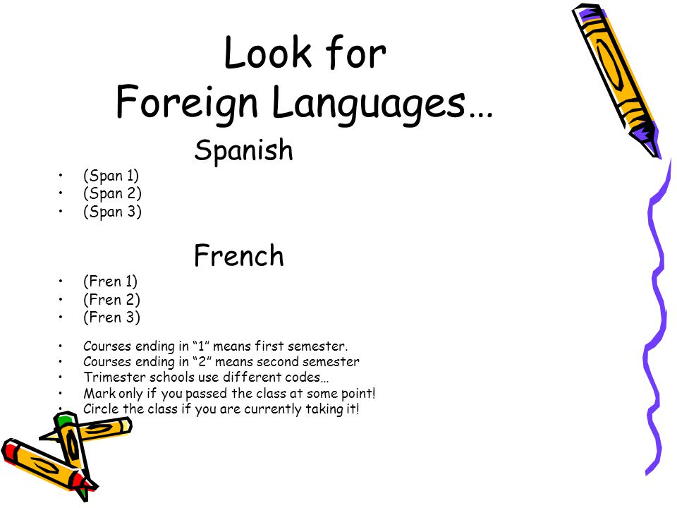 "Look for Foreign Languages… Spanish (Span 1) (Span 2) (Span 3) French (Fren 1) (Fren 2) (Fren 3) Courses ending in ""1"" means first semester. Courses e"