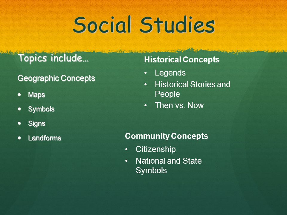 Social Studies Topics include… Geographic Concepts Maps Maps Symbols Symbols Signs Signs Landforms Landforms Historical Concepts Legends Historical Stories and People Then vs.