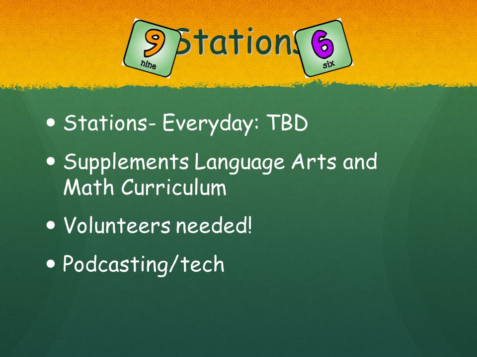 Stations Stations- Everyday: TBD Supplements Language Arts and Math Curriculum Volunteers needed! Podcasting/tech