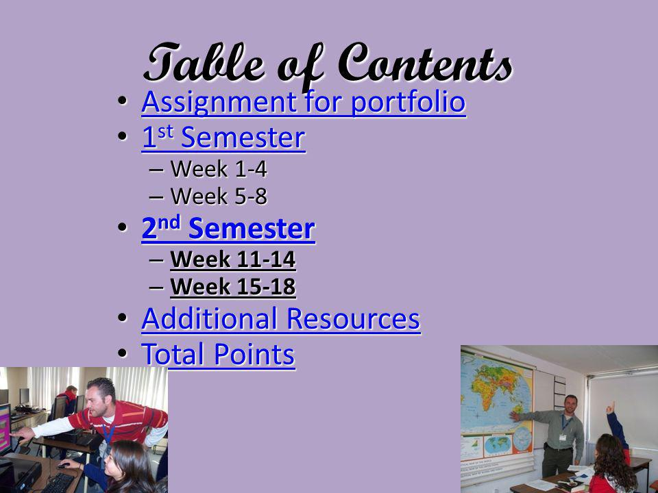 Table of Contents Assignment for portfolio Assignment for portfolio Assignment for portfolio Assignment for portfolio 1 st Semester 1 st Semester 1 st Semester 1 st Semester – Week 1-4 – Week 5-8 2 nd Semester 2 nd Semester 2 nd Semester 2 nd Semester – Week 11-14 – Week 15-18 Additional Resources Additional Resources Additional Resources Additional Resources Total Points Total Points Total Points Total Points