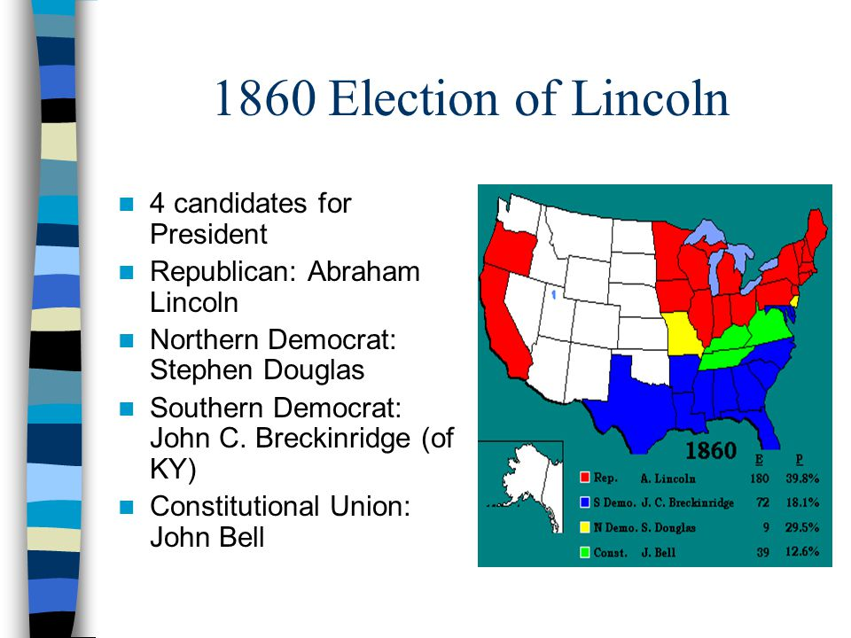 1860 Election of Lincoln 4 candidates for President Republican: Abraham Lincoln Northern Democrat: Stephen Douglas Southern Democrat: John C. Breckinr