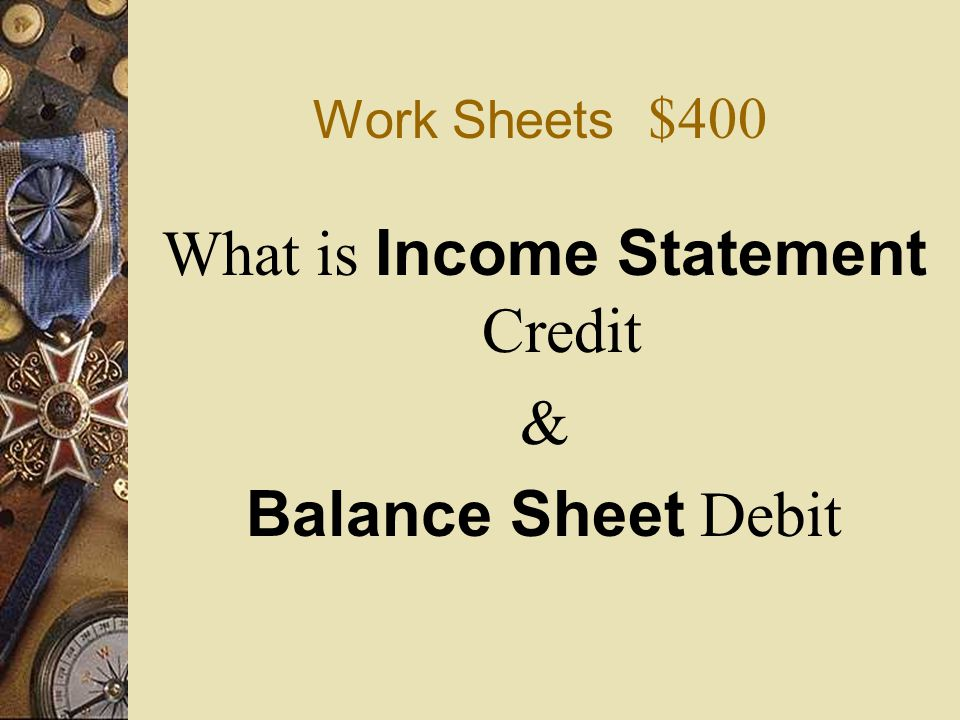 Work Sheets $400  A net loss is entered in the work sheet's _____ _____ Credit and _____ _____ Debit columns.