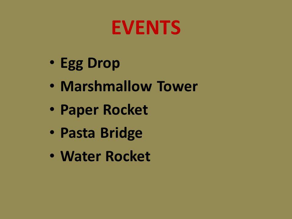 EVENTS Egg Drop Marshmallow Tower Paper Rocket Pasta Bridge Water Rocket