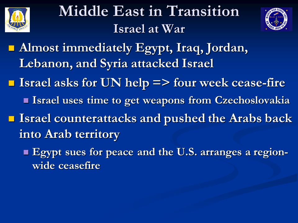 Middle East in Transition Israel at War Almost immediately Egypt, Iraq, Jordan, Lebanon, and Syria attacked Israel Almost immediately Egypt, Iraq, Jor