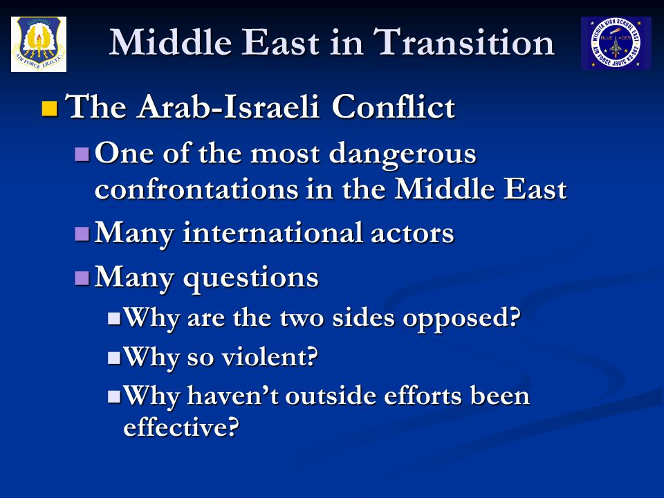 Middle East in Transition The Arab-Israeli Conflict The Arab-Israeli Conflict One of the most dangerous confrontations in the Middle East One of the m